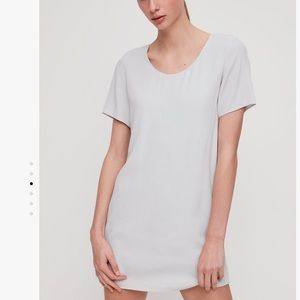 Aritzia Wilfred Free Light Gray Crepe Tshirt Dress
